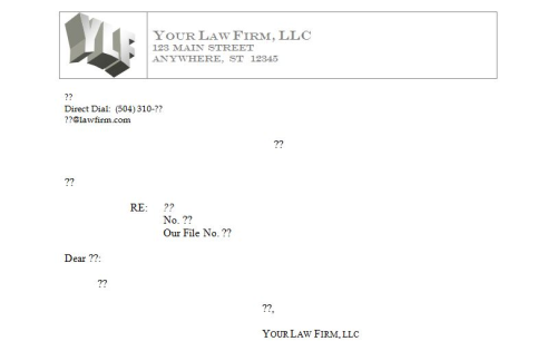 Your Firm Letterhead Letter Form